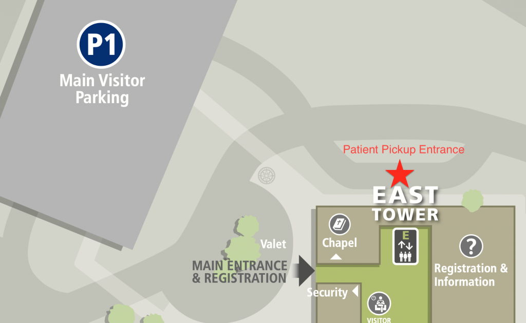 Location of the patient pickup entrance of the Sue & Bill Gross Women's Pavilion.